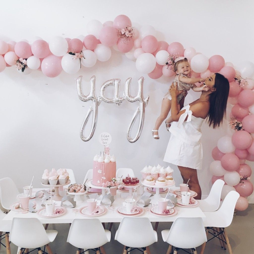 PRETTY IN PINK SECOND BIRTHDAY Balloon Arch Donuts