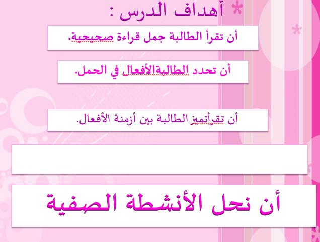 اللغة العربية بوربوينت الأفعال للصف الثاني
