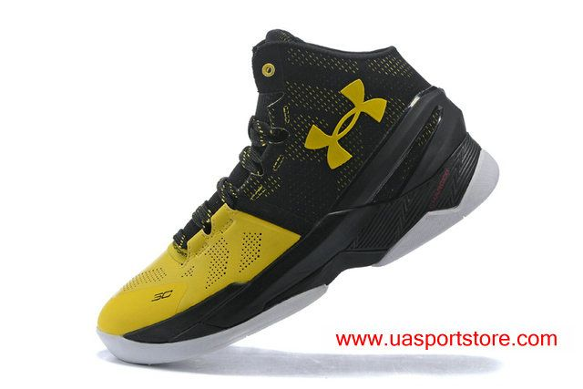 cb1a4cef0464 UA Curry Two Under Armour Yellow Black Basketball Shoes For Men ...