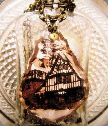 "Vintage Chandelier Crystal Memory necklace (custom piece ""Our First Home"").    by Jennifer Fields www.etsy.com/shop/Romantiquity"