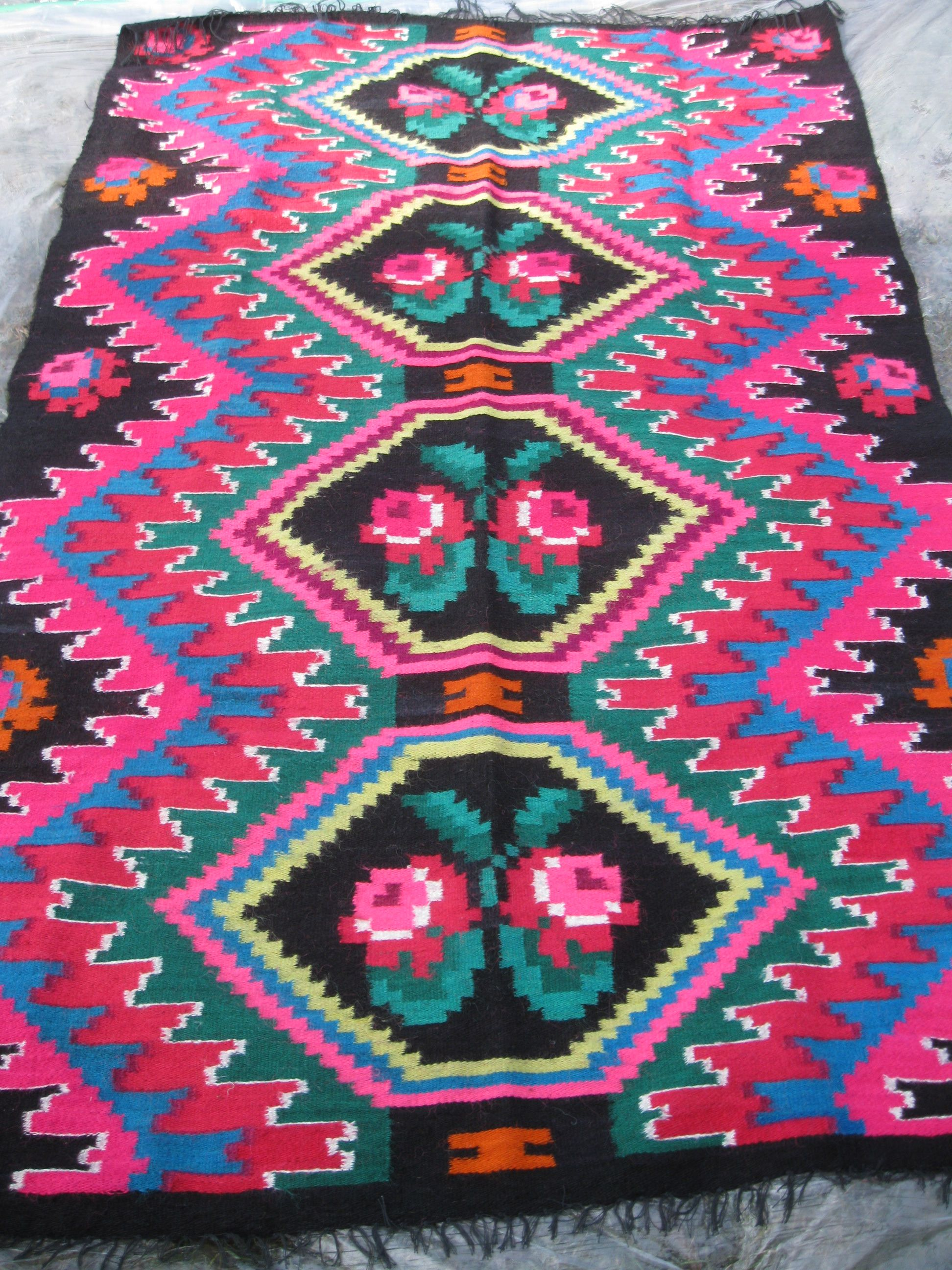 Beautiful Antique Traditional Romanian Woven Wool Carpet Rug With Flora And Geometrical L Pattern