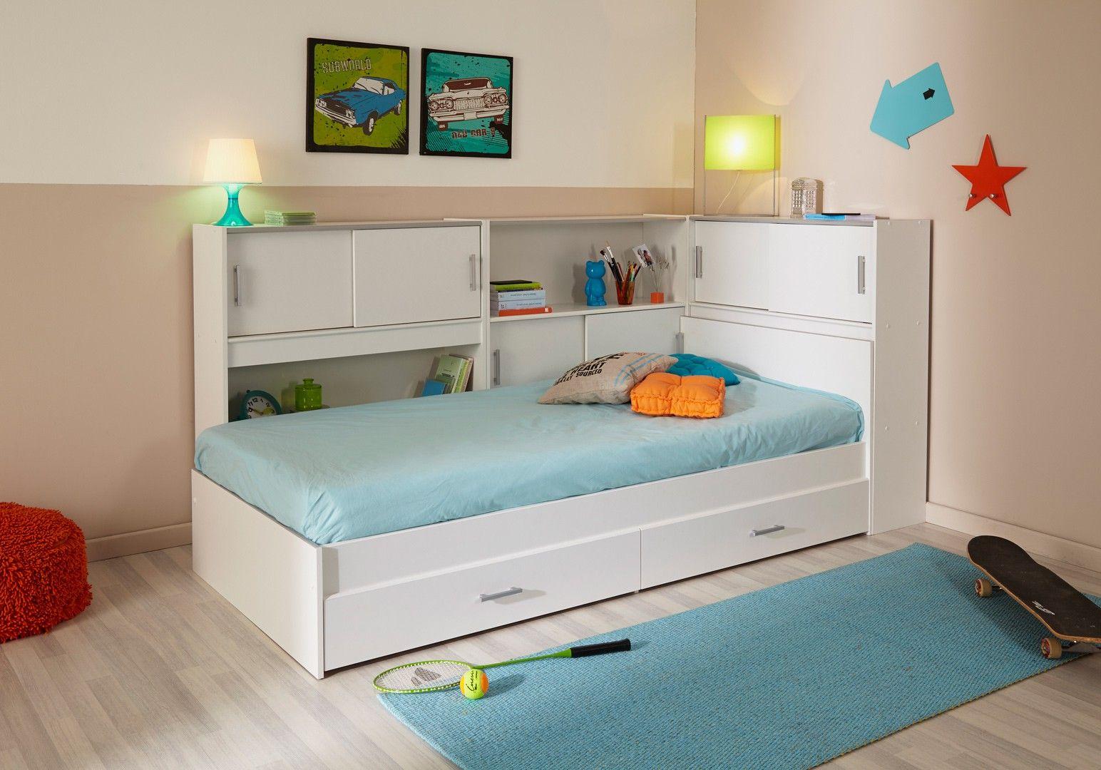 Lit Enfant Contemporain Avec Environnement Blanc Martial 90 X 200 Cm Lit Enfant Chambre Enfant Chambre Lit Enfant Meuble Rangement Lit Enfant Ikea