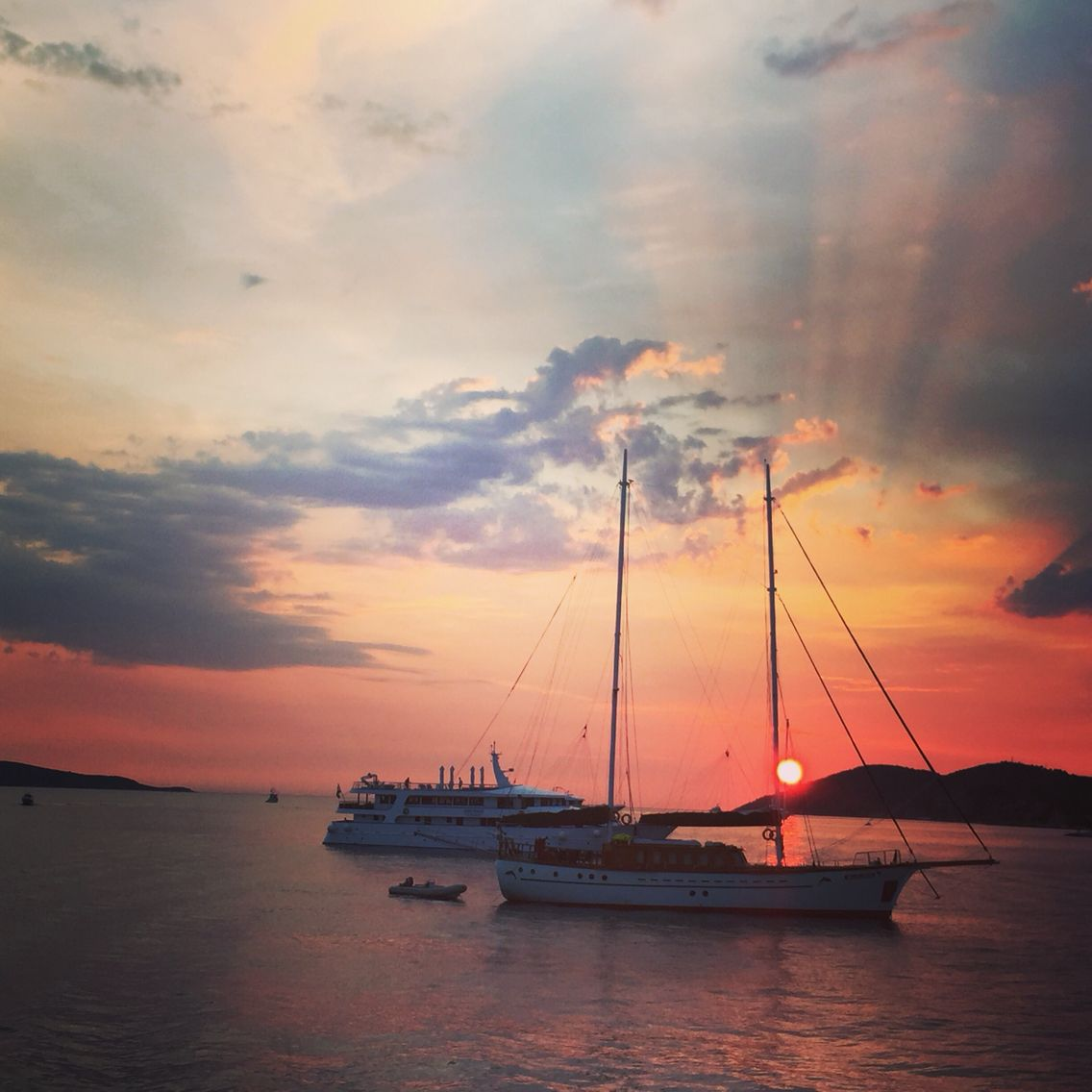 In the middle of the Adriatic Sea of the Dalmatia coast in Croatia.