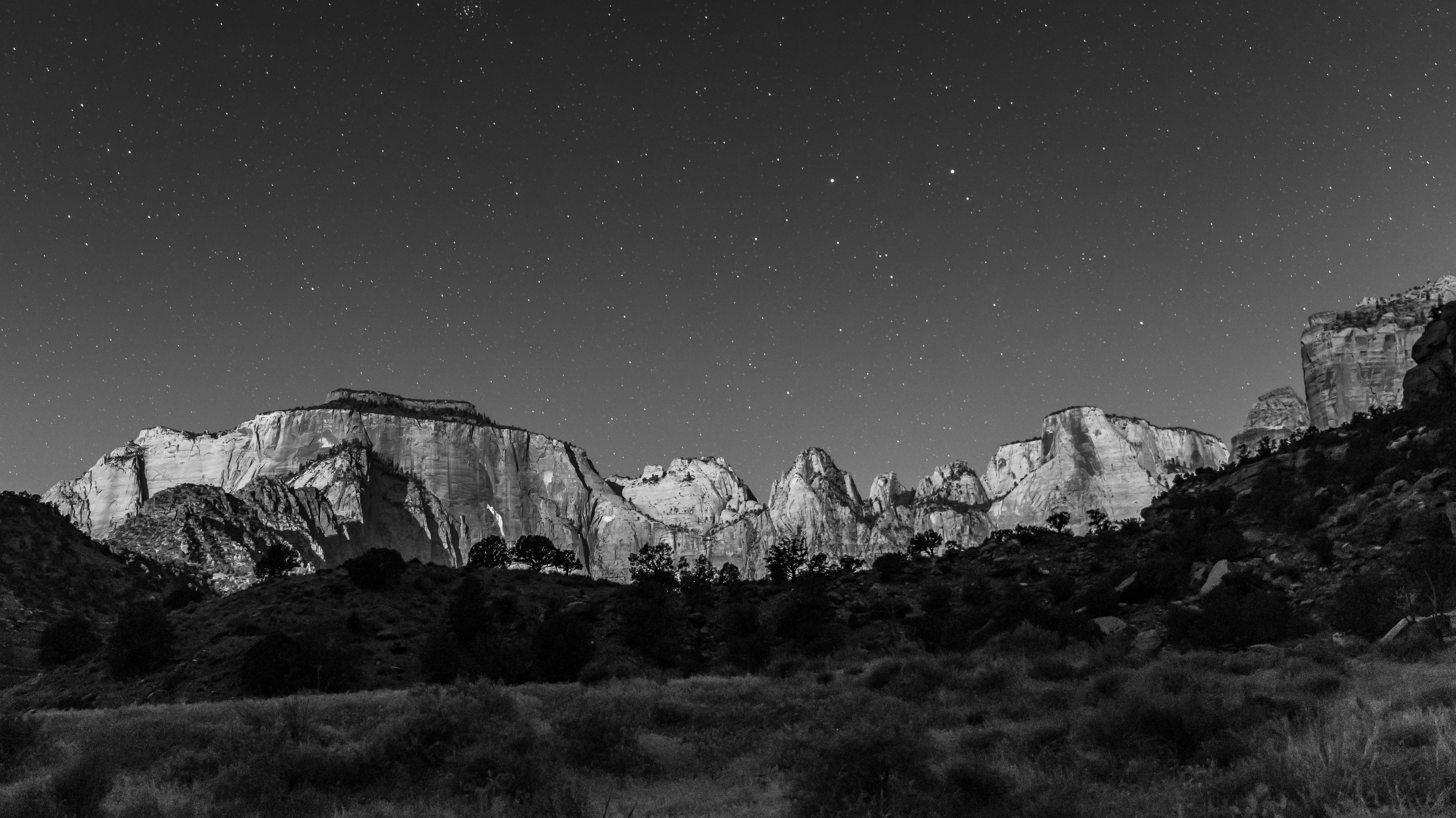 Towers of the virgin black and white photo in zion national park