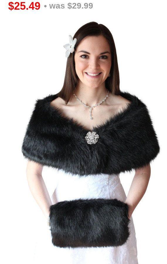 Fur Mother Day Bridal Shrug Black Faux