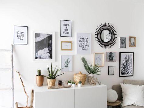 mur de cadre sans percer Maisons Pinterest Salons, Decoration