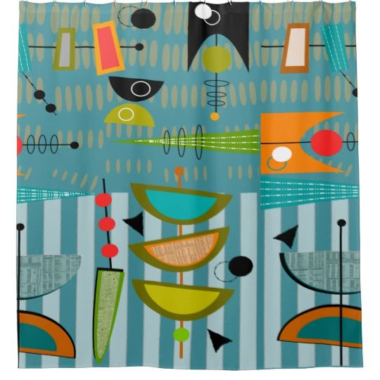 Mid Century Modern Abstract Shapes Blue Shower Curtain Zazzle