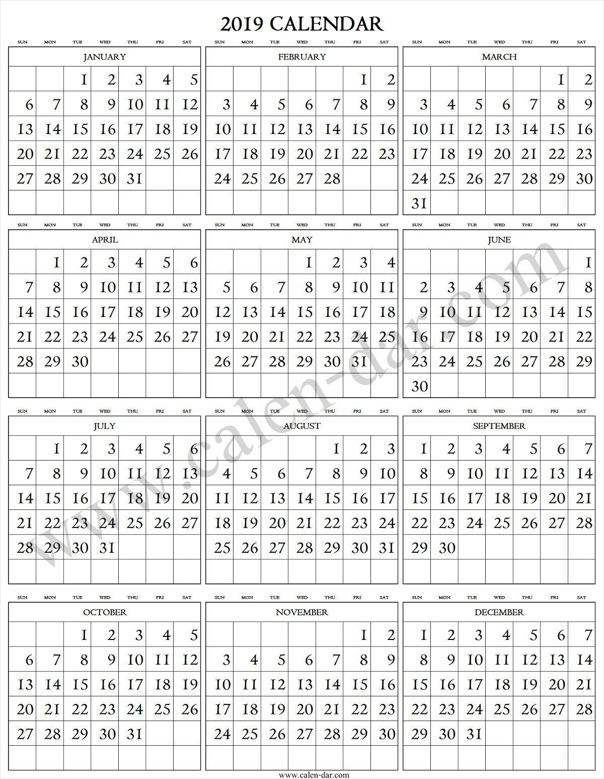 2019 Calendar Large Numbers Calendar 2019 Large Number Numbers