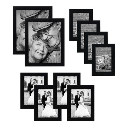 10-piece Multi Pack Black Picture Frame Set - Multiple Sizes and ...