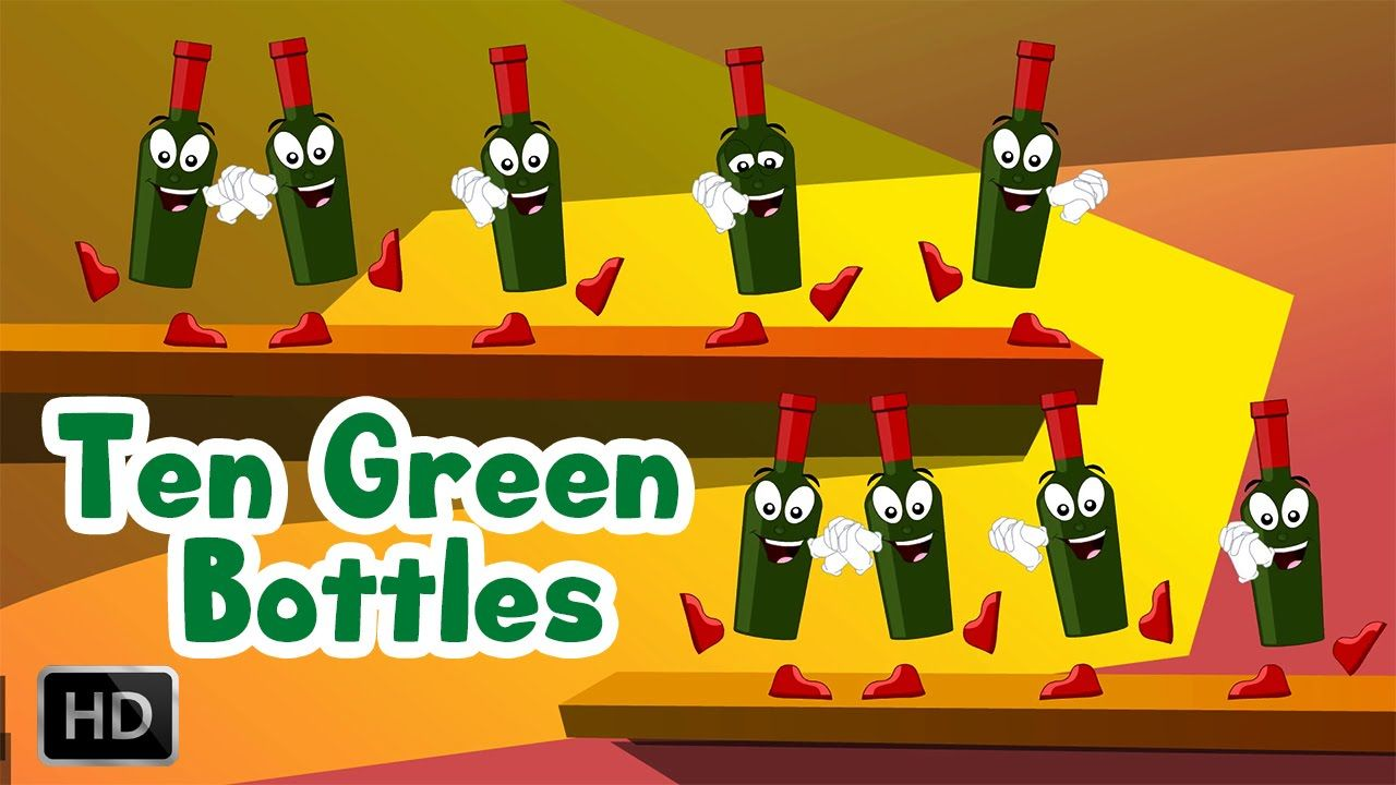 Ten Green Bottles Hanging On The Wall Song And Lyrics Nursery Rhymes For Children Kids Nursery Rhymes Nursery Rhymes Green Bottle
