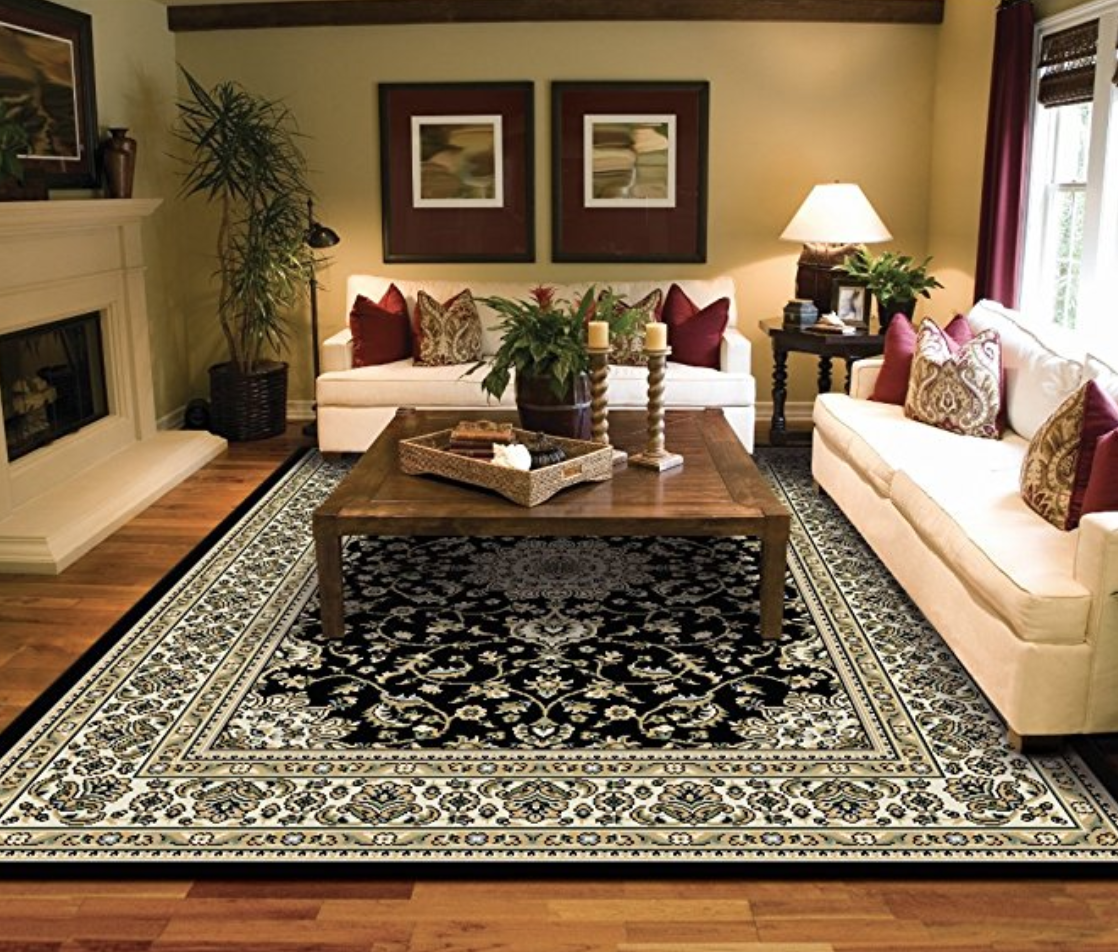 Large Rugs For Living Room Black Traditional Oriental Medallion