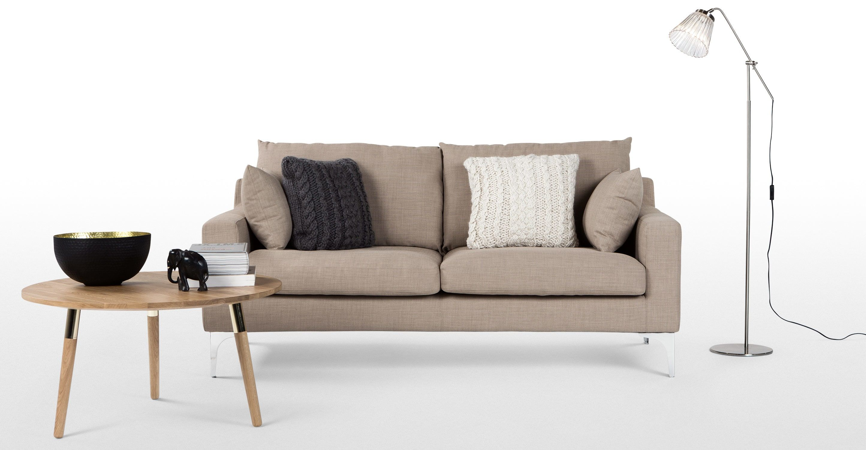 Mendini 2 Seater Sofa, Soft Taupe | Made.com