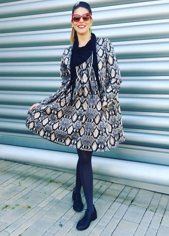 Snake Print dress, Flapper Style Dress for evening event, Snake skin print, Oversize Dress, boxy silhouette, Elegant modern dress