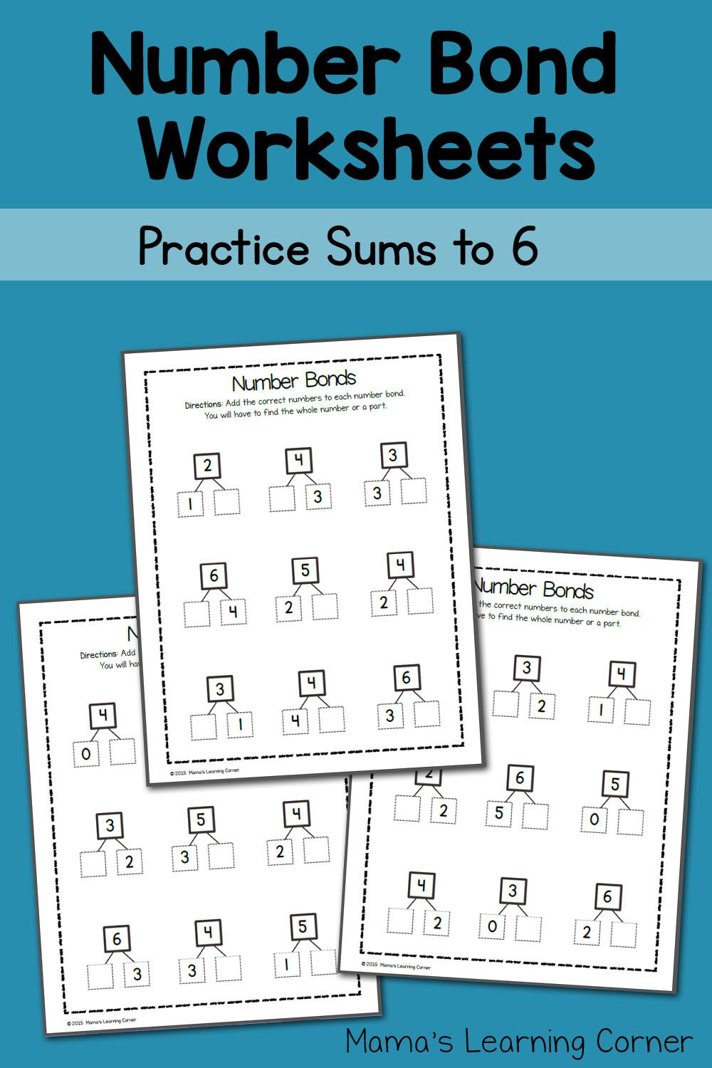 Number Bond Worksheets: Sums to 6 | Elementary School Teacher Ideas ...