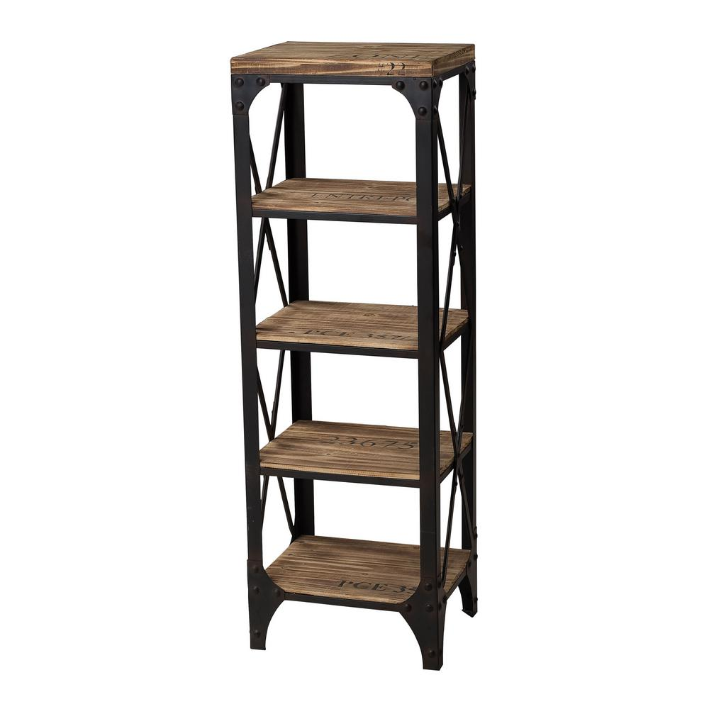 Titan Lighting 5 Shelf Industrial Wood And Iron Shelving Unit Tn