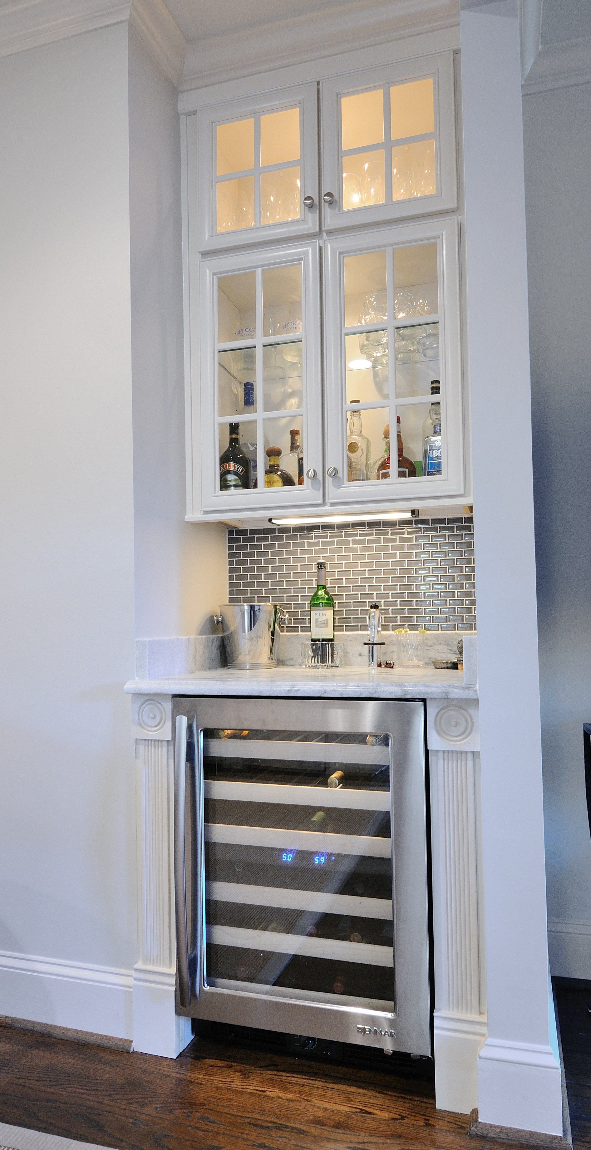 Wine Fridge - Pearl Gray Marble Wet Bar by Atlanta Kitchen, Tile Backsplash by Atlanta Marble Mfg