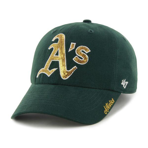 d82262898d4 Oakland Athletics Sparkle Team Color Clean Up Dark Green 47 Brand Womens Hat