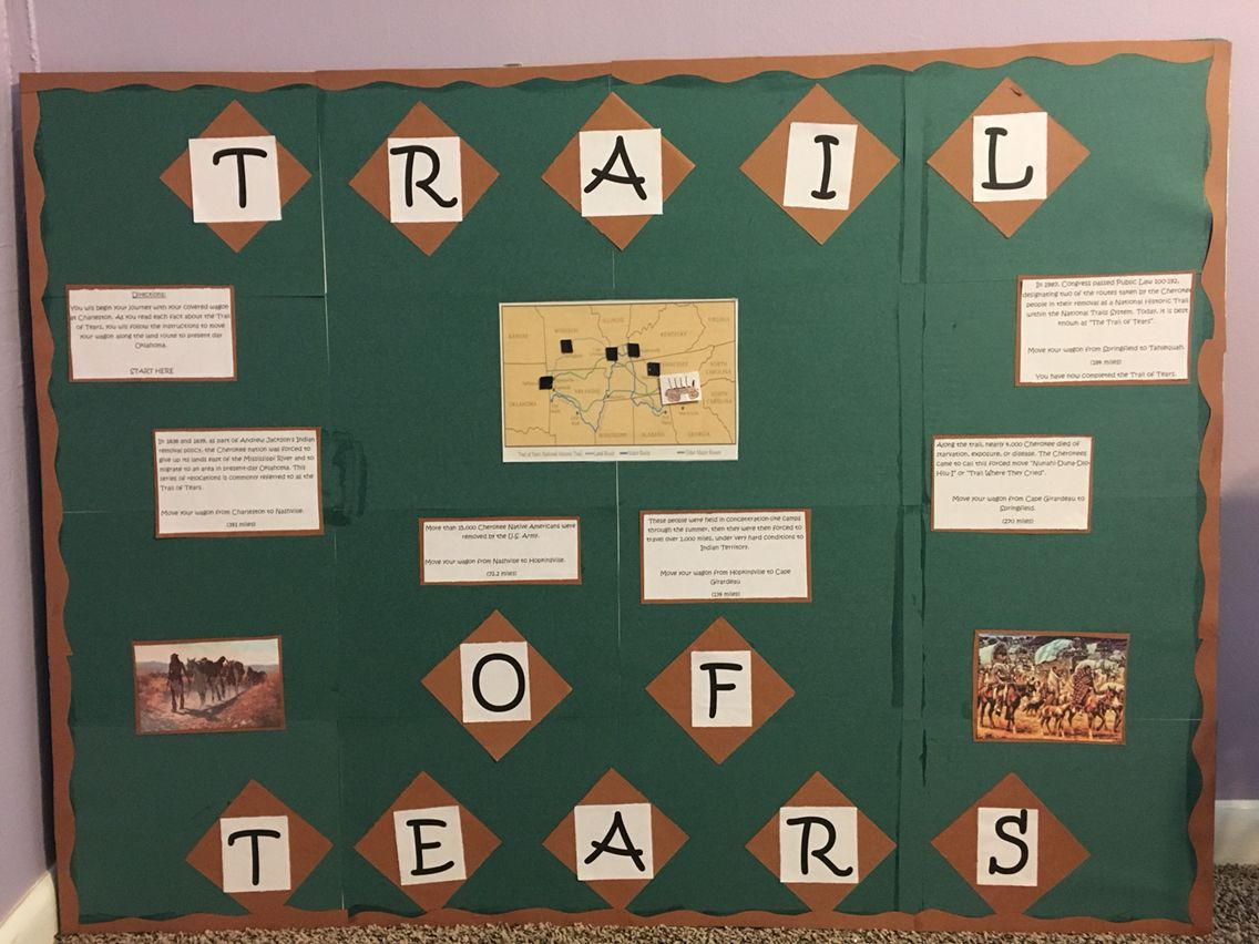 best ideas about trail of tears facts trail of trail of tears unit bulletin board students will follow directions to move from one destination