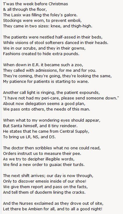 A Nurse's Christmas Poem   Nursing School