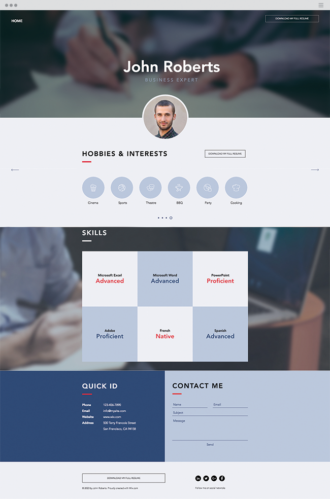 Business Cv Website Template  Wix Website Templates