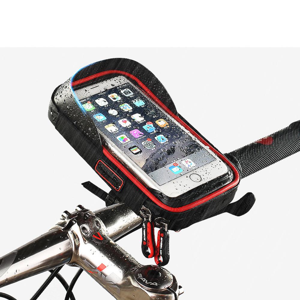 "RockBros Bike Frame Bag  6.0/"" Touch Screen Waterproof Mobile Phone Bag Red"
