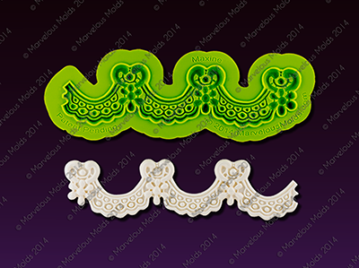 "Silicone Enhanced Lace Mold - Maxine - $34; approx 6.5"" x 1.5"""