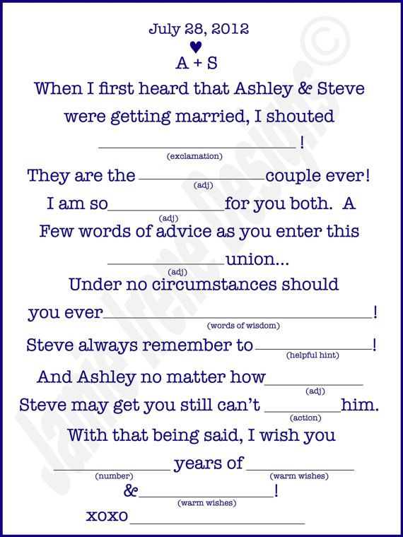It is a photo of Luscious Funny Wedding Mad Libs Printable