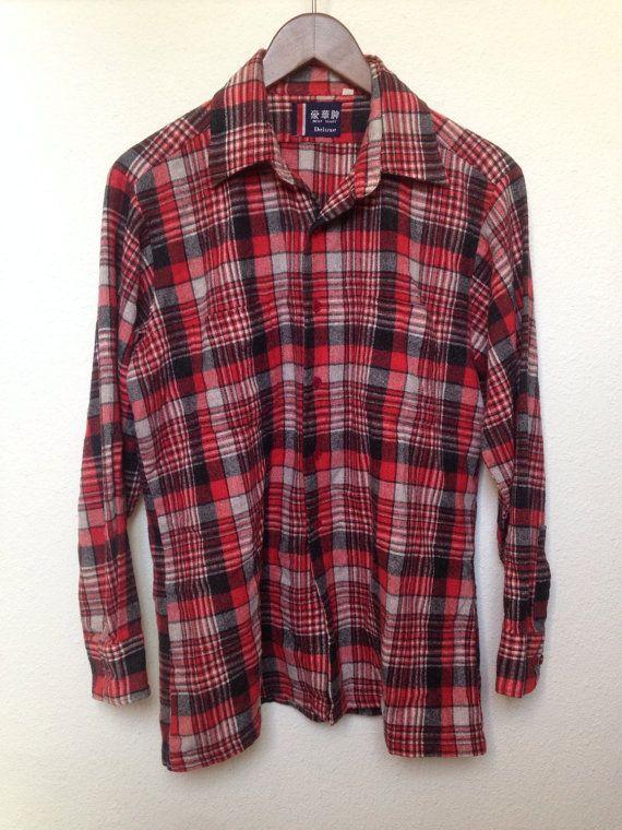 Mens Wrangler 1950's Wool Plaid Shirt Lr2UadFD6C