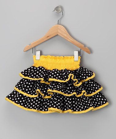 Take a look at this Yellow & Black Polka Dot Ruffle Skirt - Toddler & Girls by Lele Vintage on #zulily today!