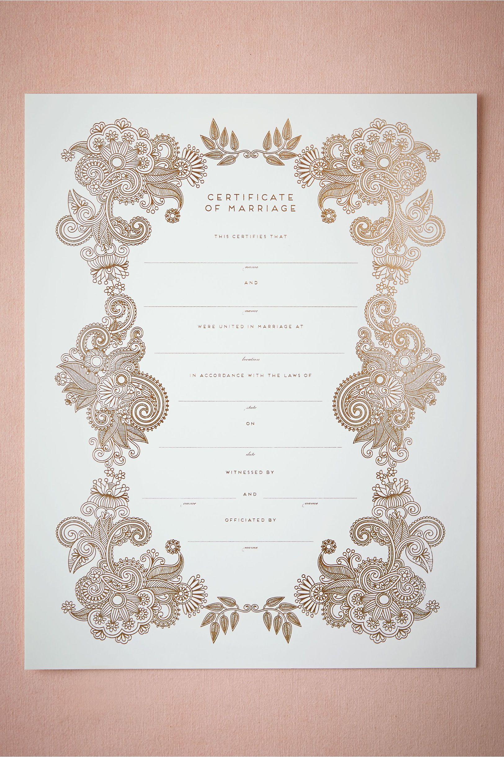Keepsake Marriage Certificate from BHLDN Keepsake Marriage