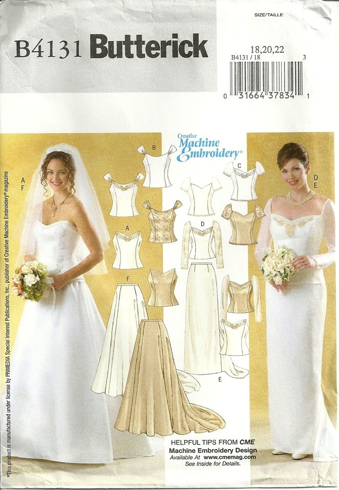 Butterick 4131 Bride Bridesmaid Corset Wedding Dress Gown Sewing ...