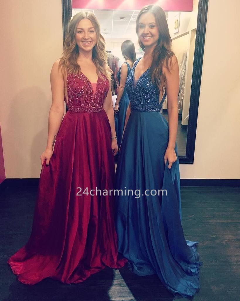 77cd038cff V-neck Tank Straps Prom Dresses Beaded Formal Evening Dresses Red Blue