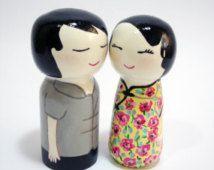 Poupee Kokeshi Couple Japonais De Poupees En Bois Kokeshi