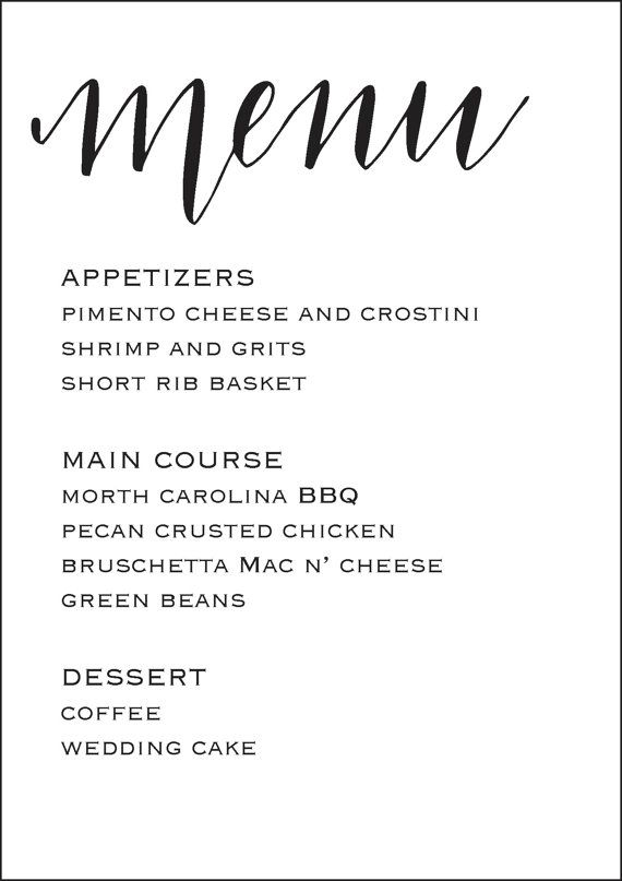 Wedding Reception Menu 5x7 Wedding Menu Template by MMcalligraphy - free dinner menu templates