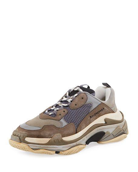 420c3f083a90 BALENCIAGA Triple S Mesh   Leather Trainer Sneaker