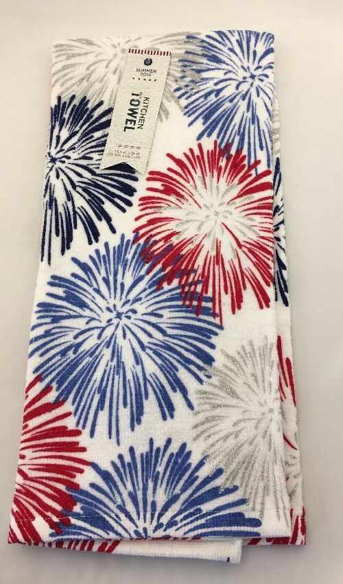 Fourth Of July Kitchen Towel Dish Towel Fireworks 4th Of July