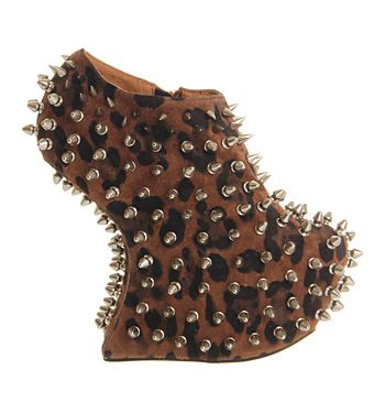 Jeffrey Campbell Shadow Platform Ankle Bt Cheetah Sde Silver Stud - Ankle Boots