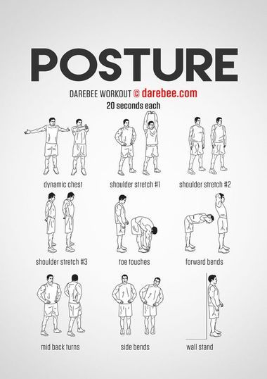 8 Infographics Of Posture Correction Exercises (That Are Less Than 10 minutes)