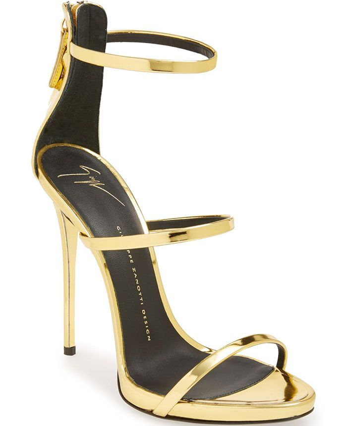 Cheap Giuseppe Zanotti Sandals With Gold Color Metal Black Low Price