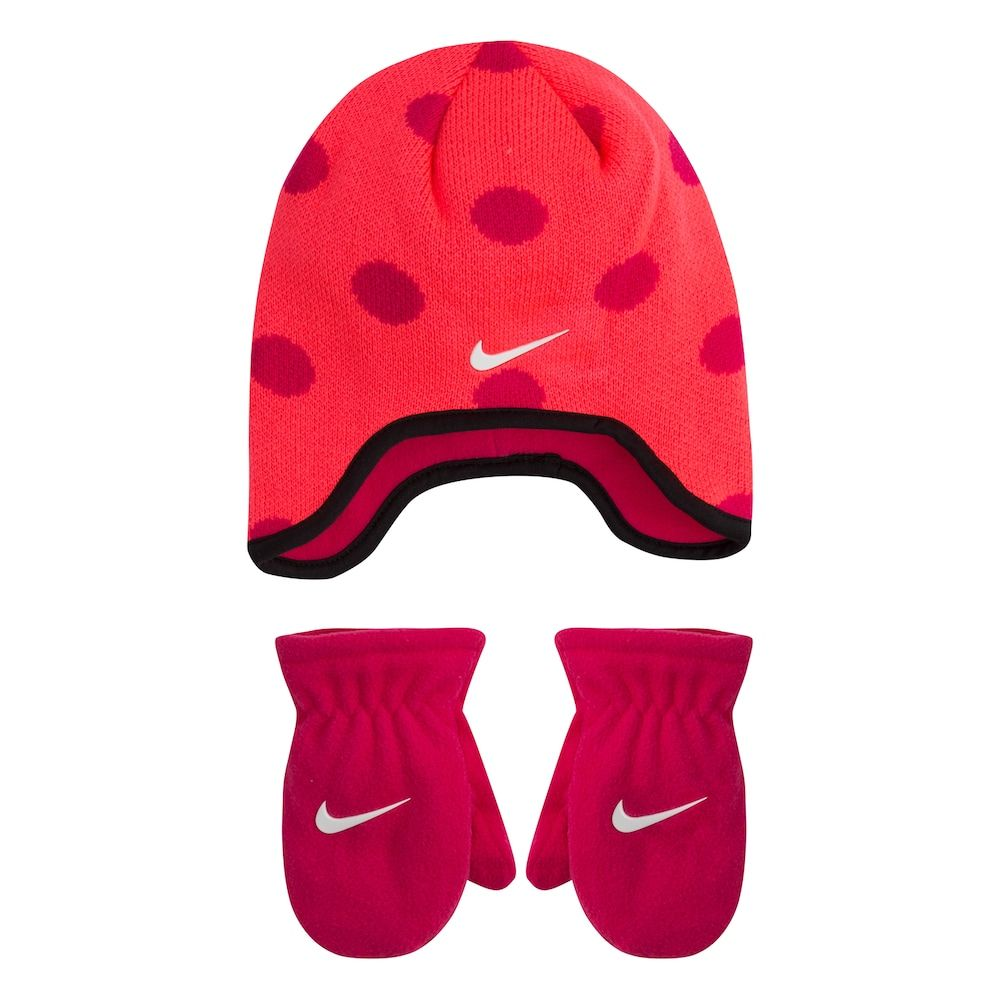 475a9dcf Toddler Girl Nike Dotted Fleece Trapper Beanie & Mittens Set, Pink