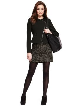 Cute skirt! Petite leo print wool skirt. £35. would wear with charcoal tights & boots rather than black.
