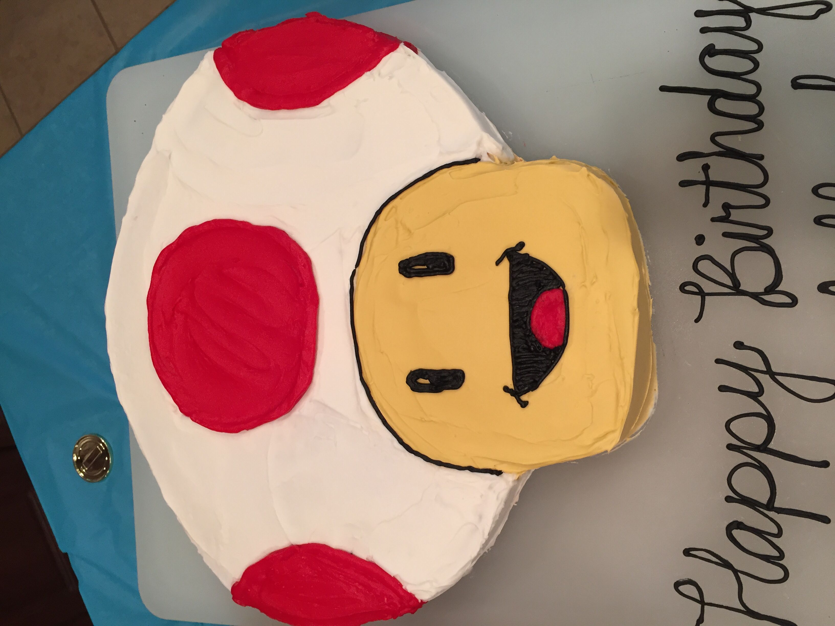 Buttercream Toad Cake For Super Mario Brothers Party