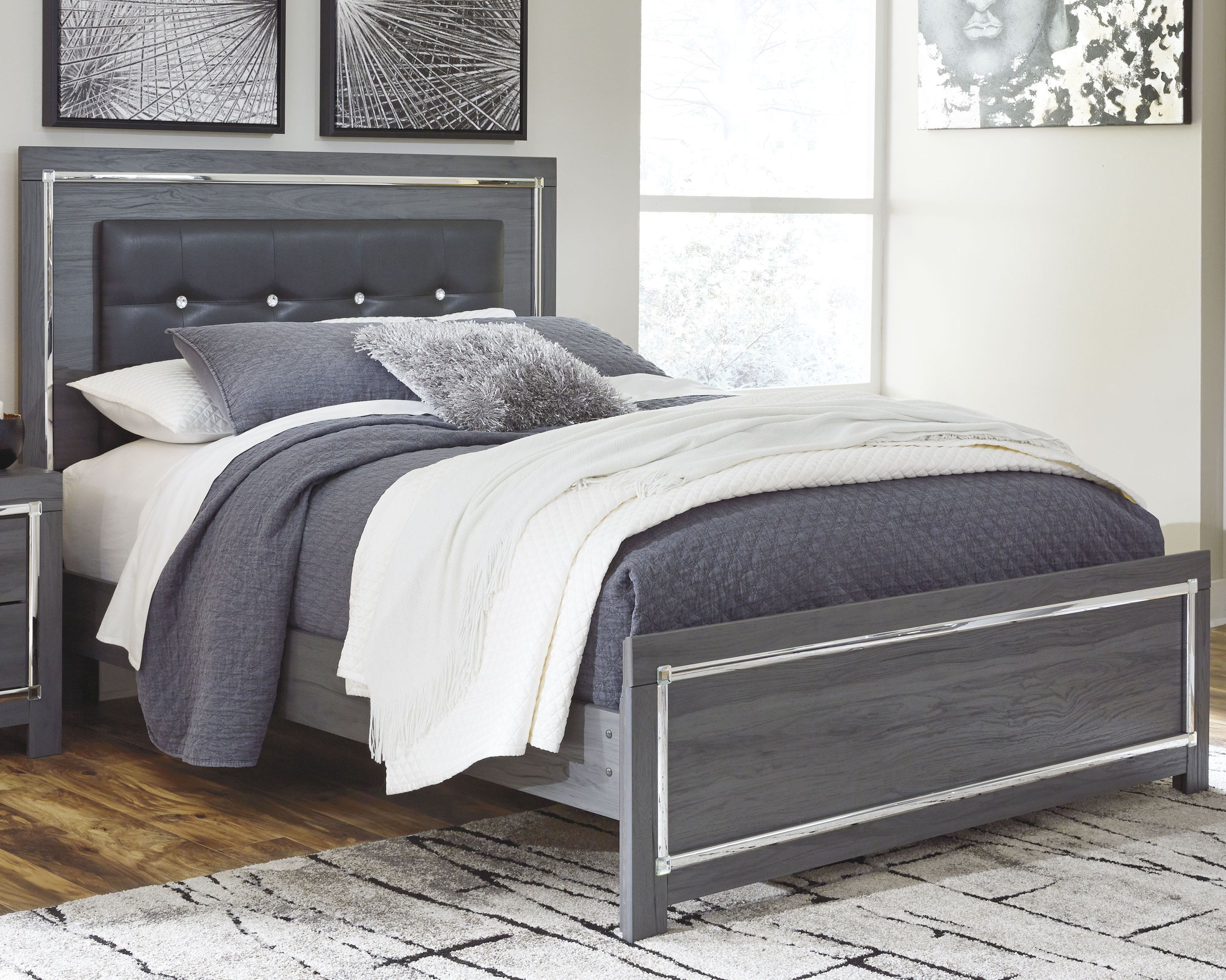 Lodanna Queen Panel Bed Gray Upholstered Bed Frame Panel