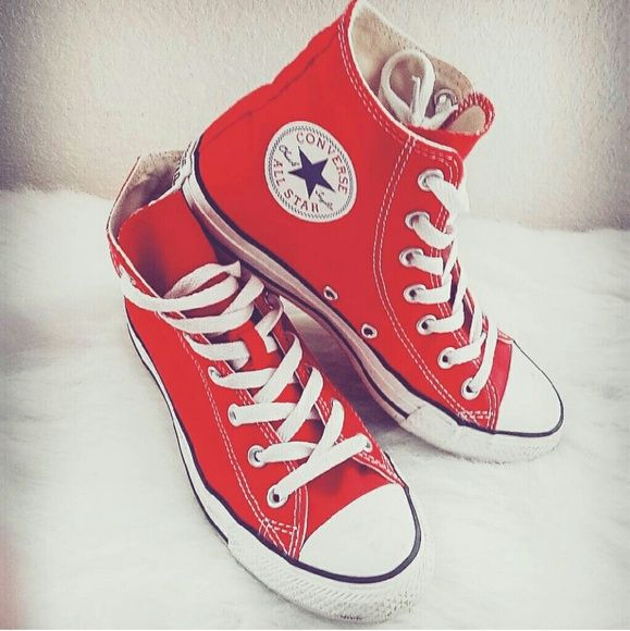 80ccd5bcb8b6 Red Converse High-tops Red Converse High-tops. Lightly worn. Converse Shoes  Sneakers