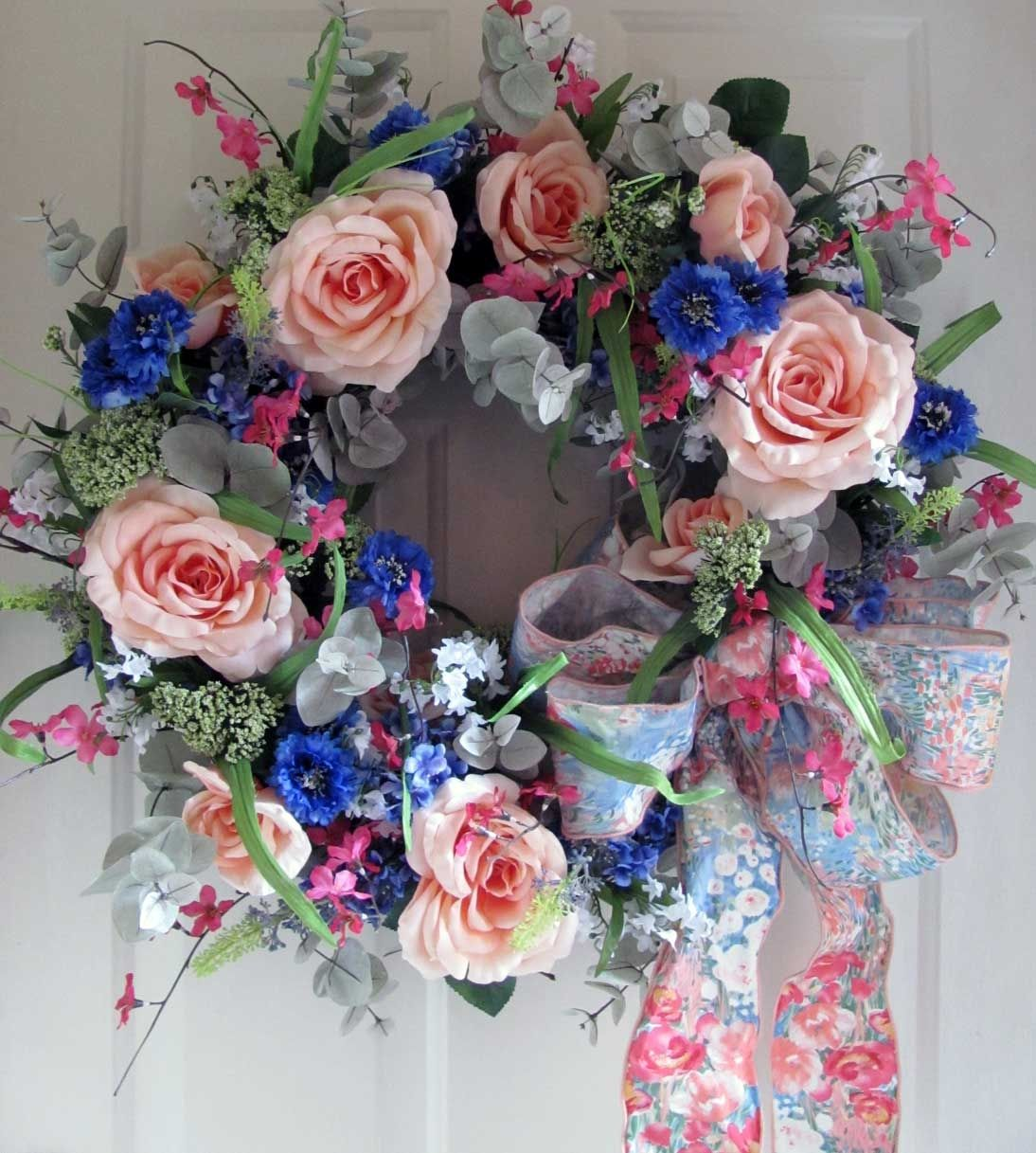 Coral Rose Floral Wreath