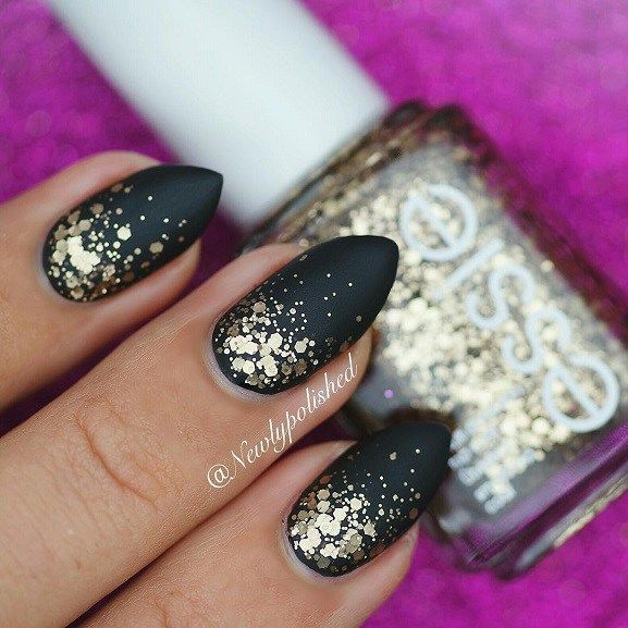A matte glitter gradient nail art perfect for New years eve | Hair ...