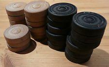 Vintage Draughts Large Wooden 4cm diameter x 1cm  27 (12 Black 15 white)