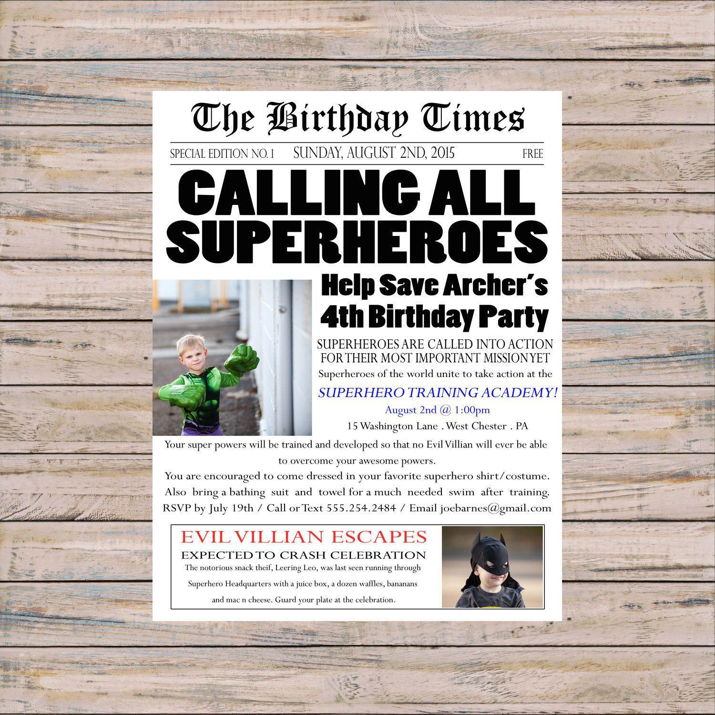 Printable Invitation, Superhero Birthday, Birthday Invitation ...