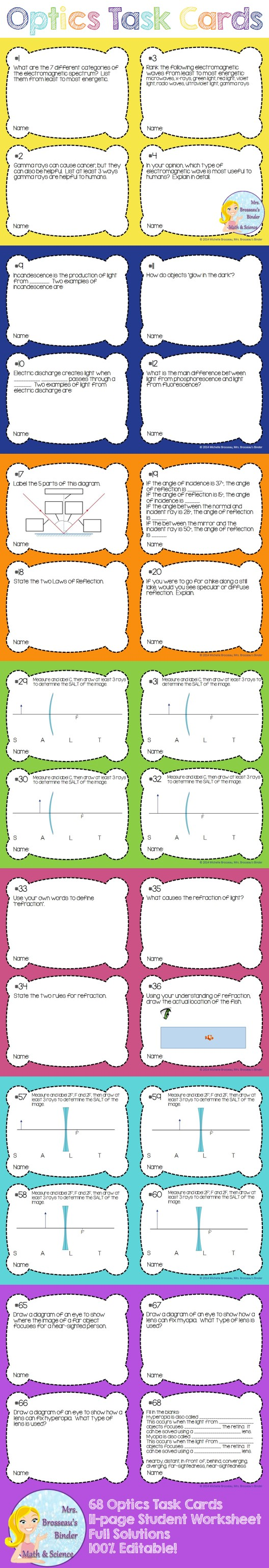 Optics Task Cards 68 Cards With Student Worksheets And Full Solutions Topics Electromagnetic Spectrum Physics High School Task Cards Middle School Science
