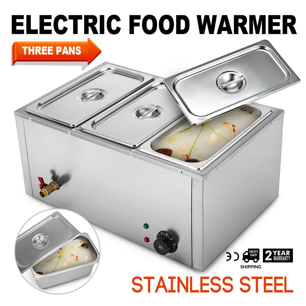 3 Pan Food Warmer Steam Table Steamer 3 Deep Buffet Countertop